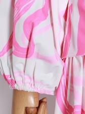 Irregular Print Long Sleeve Boutique Two Piece Skirt Set