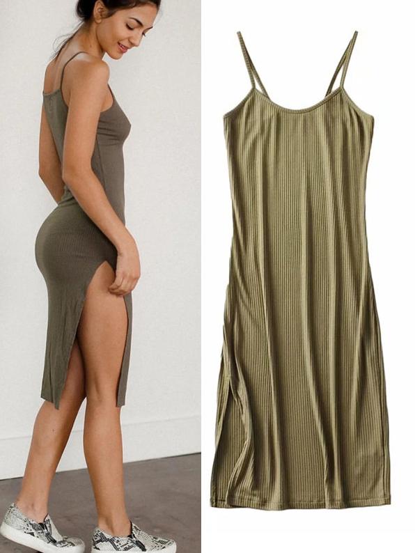 Sexy Solid Side Slit Camisole Female Sundress
