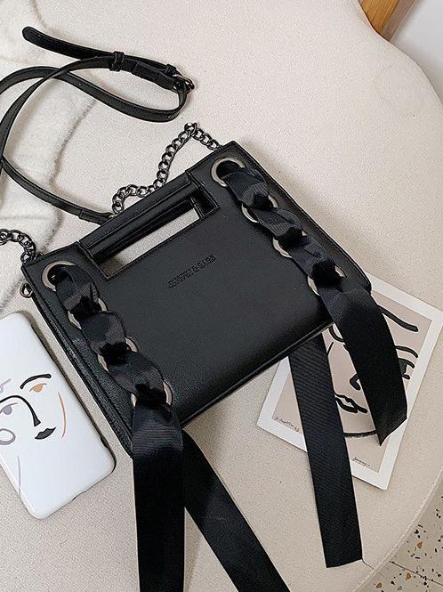 Ribbon Weaving Solid Square Shape Chain Shoulder Bags