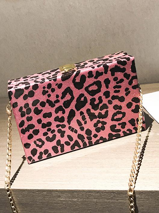 Chic Box Shape Leopard Print Chain Crossbody Bags