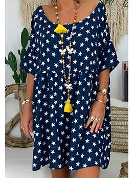 Loose Half Sleeve Star Plus Size Summer Dresses
