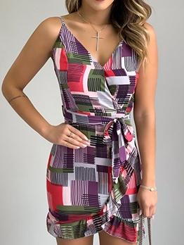 Casual Contrast Color Printed v Neck Summer Dresses
