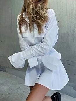 Euro Button Down Solid Long Sleeve Shirt Dress