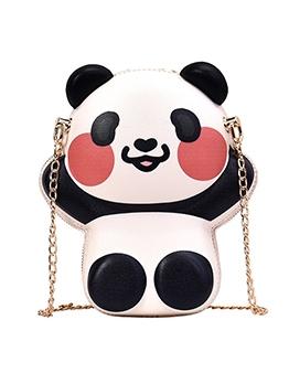 New Arrival Panda Shape Double Zipper Chain Crossbody Bags