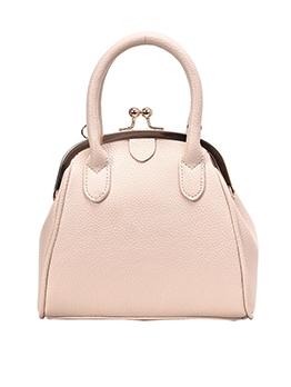 Metal Splicing Pure Color Simple Ladies Handbags With Belt