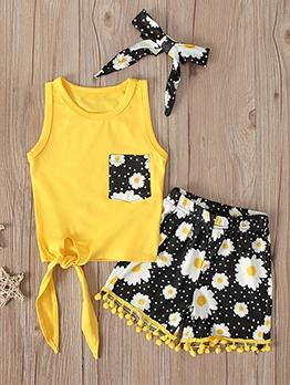 Sleeveless Sunflowers Print Girls Clothing Set For Summer