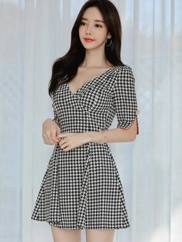 Deep v Neck Houndstooth Short Sleeve Ladies Dress