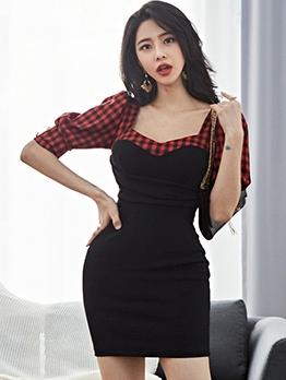 V Neck Plaid Patch Black Bodycon Mini Dress