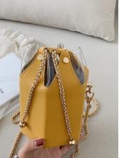 PVC Patchwork Pu Golden Chain Bucket Bag For Women