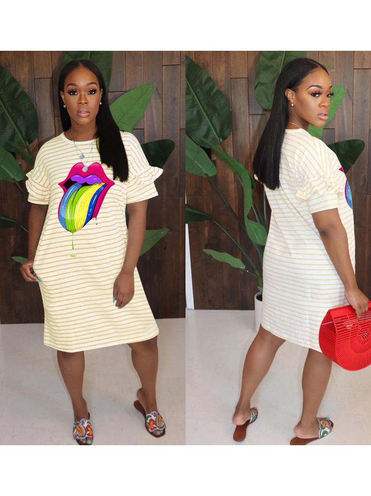 Loose Striped Printed Short Sleeve t Shirt Dress