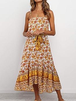 Summer Ditsy Printed Slip Midi Dress