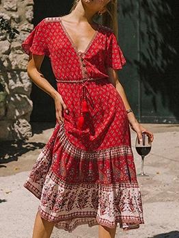 Tribal Printed v Neck Tassels Summer Maxi Dresses
