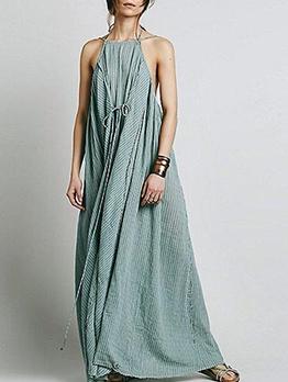 Loose Casual Striped Sleeveless Maxi Dress