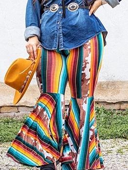Multicolored Stripes Elastic Waist Plus Size Flare Pants
