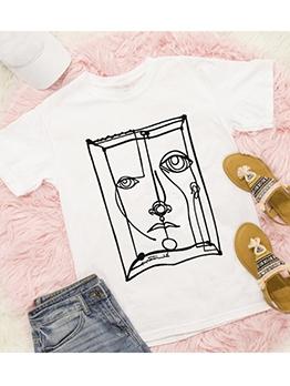 Trendy Printing Plus Size Women Crew Neck T Shirts