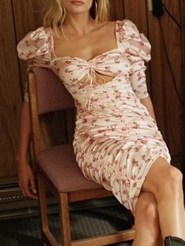 Summer Drawstring Short Sleeve Floral Dress