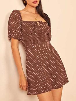 Retro Elastic Waisted Polka Dots Short Sleeve Dress