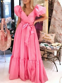 Trendy Solid Puff Short Sleeve Maxi Dresses Online