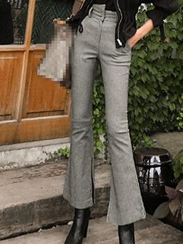 Split Bottom Plain Gray High Waist Flare Pants