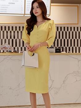 Elegant v Neck Front Button Long Sleeve Dress