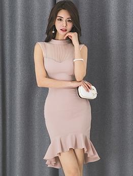 Elegant Solid Mermaid Fitted Sleeveless Dress