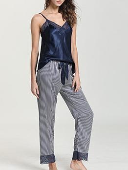 Stripes Lace Patchwork Sleeveless Loungewear Pajamas Set