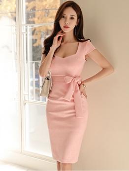 Slim Fit Pink Wrap Bodycon Dress