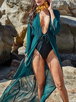 Sexy Chiffon Long Sleeve Beach Beach Cover Ups