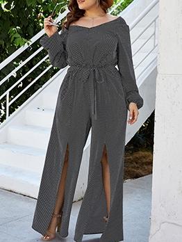 Vintage Split Wide Leg Plus Size Jumpsuits