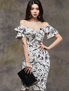 Elegant Printed Off Shoulder Short Sleeve Dress