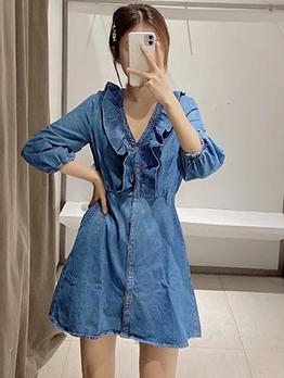 Ruffle Detail Blue Long Sleeve Denim Short Dress