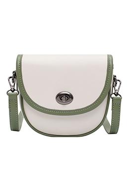 Adjustable Belt Color Stitching Twist Lock Saddle Bag