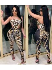 Leopard Chain Print Strapless Bodysuit Two Piece Pants Set