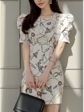 Empire Waisted Crew Neck Chain Printed Ladies Dress