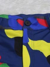 Fashion Color Block Camouflage Pencil Pants