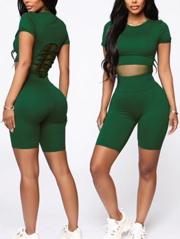 Solid Short Sleeve Skinny Crop Womens Tracksuits