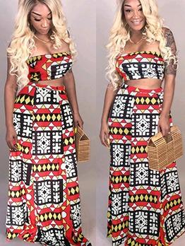 Geometric Print Strapless Crop Top And Skirt Set