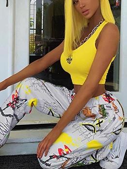 Street Style Graffiti Print High Waist Sweatpants