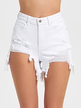 Chic Design Irregular Hem High Waist Denim Shorts