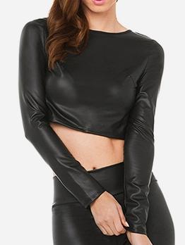 Plain Black Pu Backless Trendy Cropped T Shirts