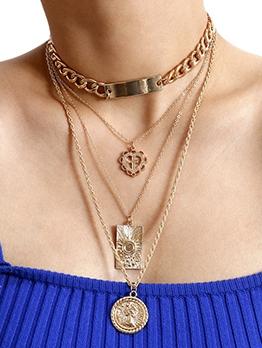 Punk Metal Heart Cross Pendant Necklace Set