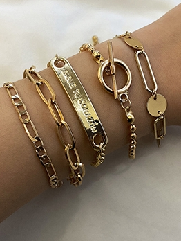 Rectangular Letter Nameplate Simple 5 Piece Chain Bracelet
