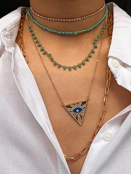 Vintage Rhinestone Decor Triangle Necklace Set