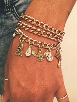 3pcs Vintage Egyptian Pharaohs Cleopatra Pendant Bracelet Set