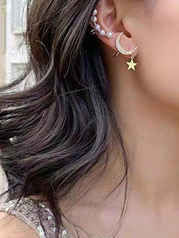 3pcs Rhinestone Crescent Star Faux Pearl Clip On Earrings