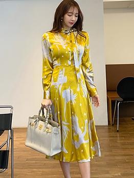 Single-Breasted Tie Neck Print Long Sleeve Shirt Dress