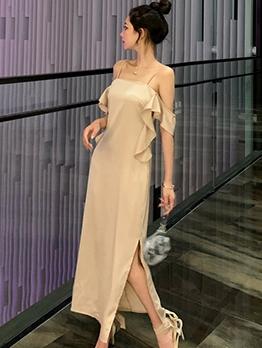 Elegant Ruffle Detail Split Hem Apricot Satin Maxi Dress