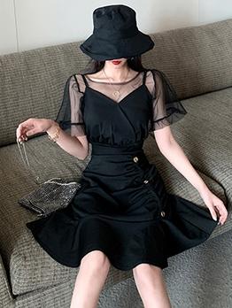 Gauze T-Shirt With A-Line Dress Black Two Piece Dress
