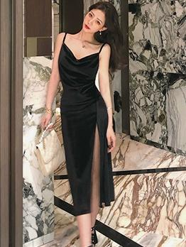 Vintage V Neck Split Hem Little Black Dress For Women