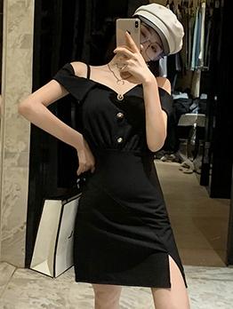 Smart Waist Off The Shoulder Black Bodycon Dress